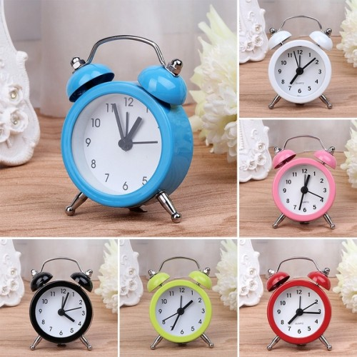 Clock (Portable Cute Mini Round Battery Alarm Clock)