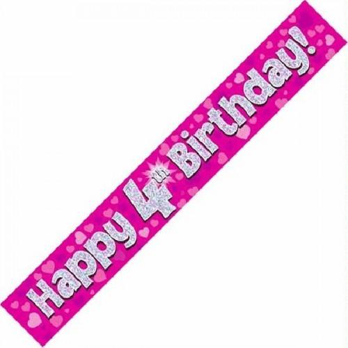 9ft Happy 4th Birthday - Pink