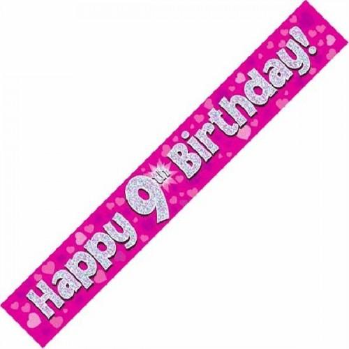 9ft Happy 9th Birthday - Pink