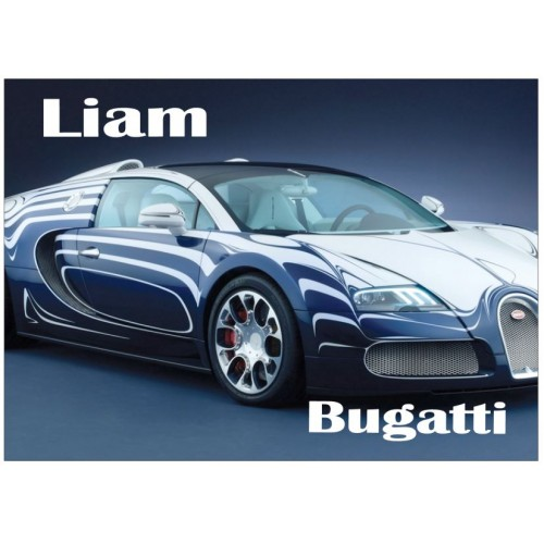 Super Car - Bugatti Personalised Jigsaw