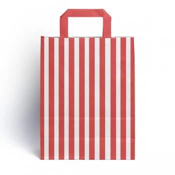 Red & White Flat handled sweet bag (pack 10 / 25 / 50