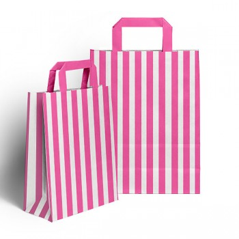 Pink & White Flat handled sweet bag (pack 10 / 25 / 50