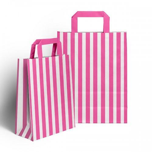 Pink & White Flat handled sweet bag (pack 10 / 25 / 50