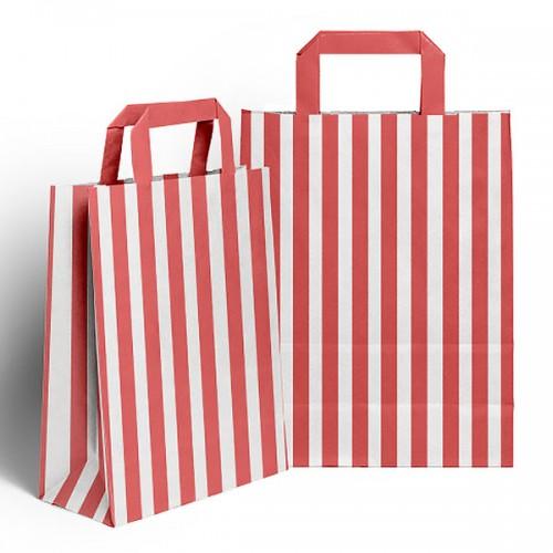 Red & White Flat handled sweet bag (pack 10 / 25 / 50