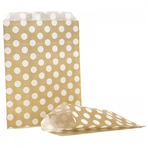 Polka dots  Gold & White sweet bag (pack 50 / 100)