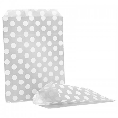 Polka dots  Silver & White sweet bag (pack 50 / 100)