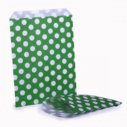 Polka dots  Green & White sweet bag (pack 50 / 100)