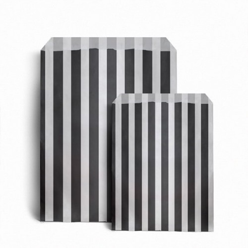 Paper Black / White stripe candy bag (pack 50 / 100)