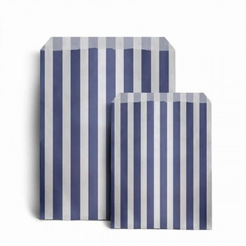 Paper Dark Royal Blue / White stripe candy bag (choice of different pack sizes)