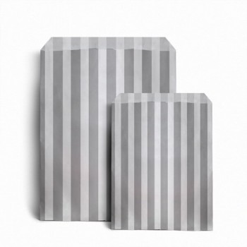 Paper Grey / White stripe candy bag (pack 50/100)