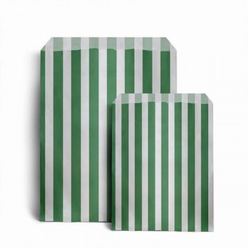 Paper Green / White stripe candy bag (pack 50/100)