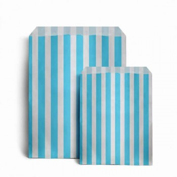 Paper Light Blue (Aqua) / White stripe candy bag (pack 50/100)