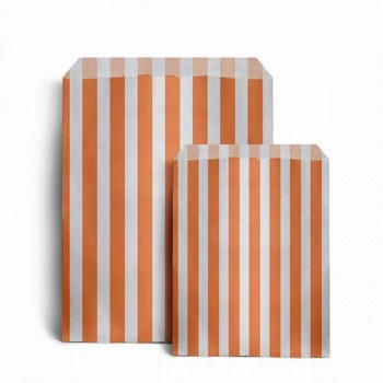 Paper Orange / White stripe candy bag (choice of different pack sizes)