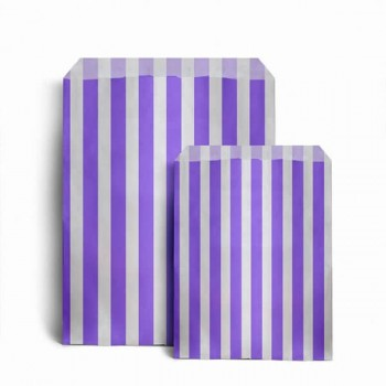 Paper Purple / White stripe candy bag (choice of different pack sizes)