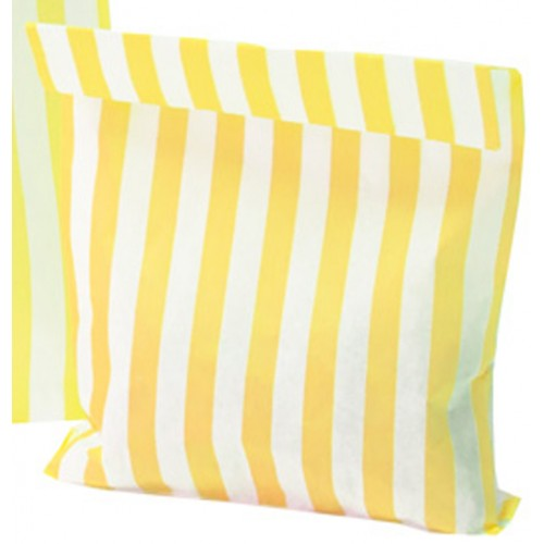 Paper Yellow / White stripe candy bag (pack 50/100)
