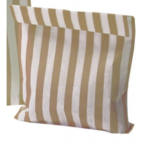 Paper Gold / White stripe candy bag (pack 50/100)