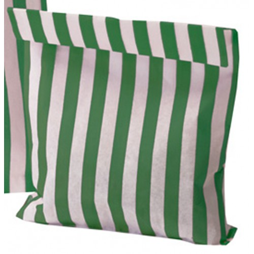 Paper Green / White stripe candy bag