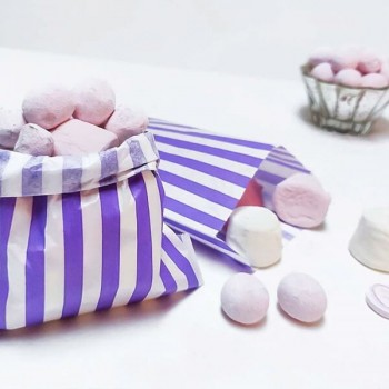 Paper Purple / White stripe candy bag (pack 50/100)
