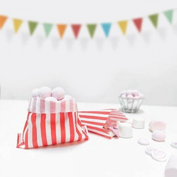 Paper Red / White stripe candy bag (pack 50/100)