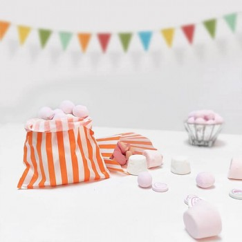Paper Orange / White stripe candy bag (pack 50/100)
