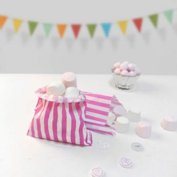 Paper Pink / White stripe candy bag (pack 50/100)
