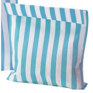 Paper Light Blue (Aqua) / White stripe candy bag (pack 50/100)
