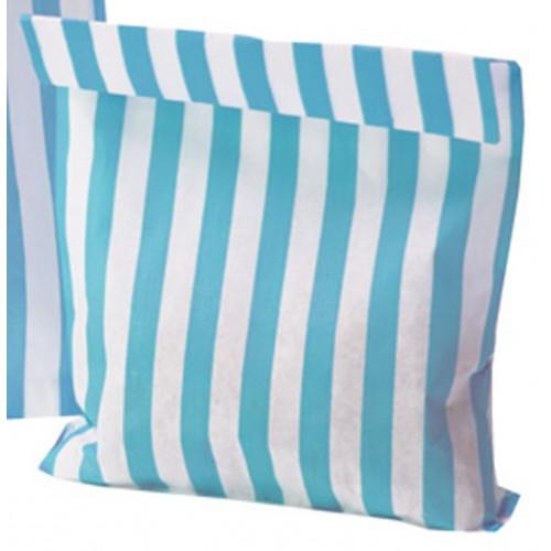 Paper Light Blue (Aqua) / White stripe candy bag
