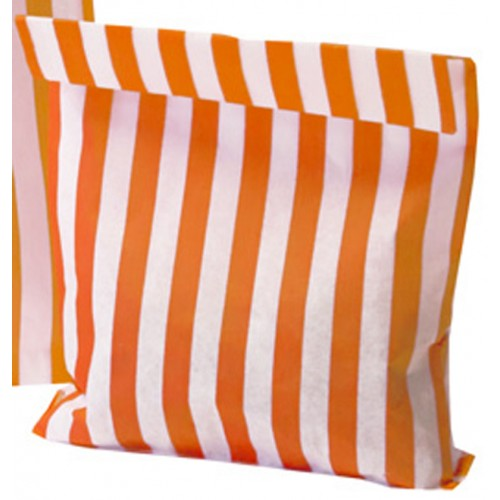 Paper Orange / White stripe candy bag