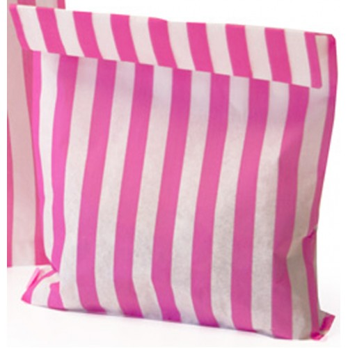 Paper Pink / White stripe candy bag