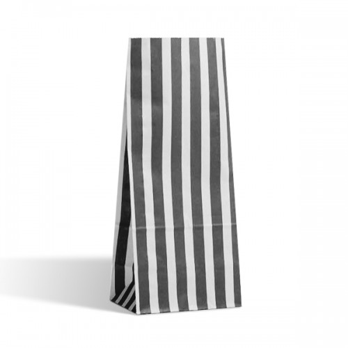 Tall Black / White stripe sweet bag (pack 50 / 100)