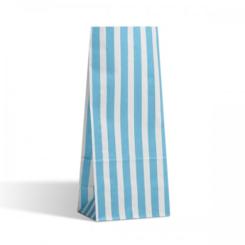 Tall Aqua Blue / White stripe sweet bag (pack 50 / 100)
