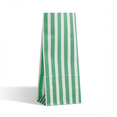 Tall Green / White stripe sweet bag (pack 50 / 100)
