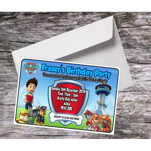 Invites - Personalised Paw Patrol Invites