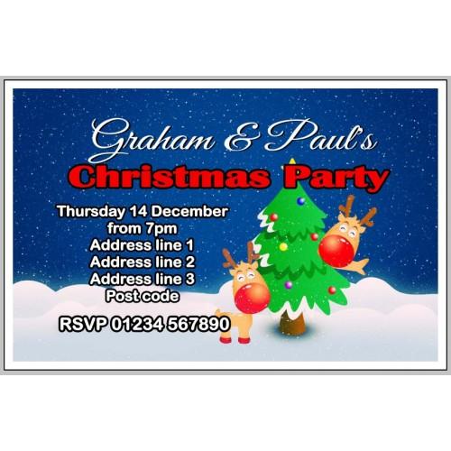 Invites - Reindeer and Christmas tree