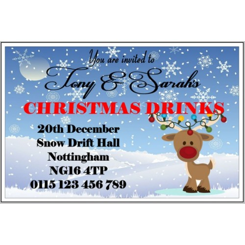 Invites - Red nose reindeer