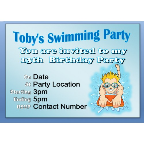 Invites - Personalised Swimming Invites